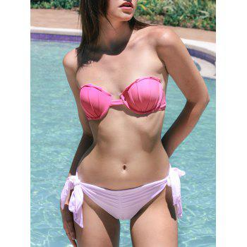 Side-Tie Ruched Bandeau Bikini Set