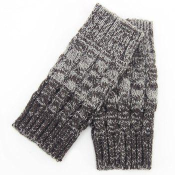 Pair of Chic Crocheted Hemp Flowers Topper Double Sided Women's Knitted Boot Cuffs -  GRAY