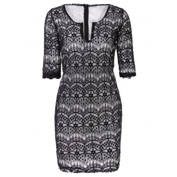 Fashionable 3/4 Sleeve Plunging Neckline Lace Dress For Women - BLACK BLACK