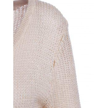 Chic Women's Lace Splicing Solid Color Long Sleeve Scoop Neck Pullover Sweater - APRICOT L