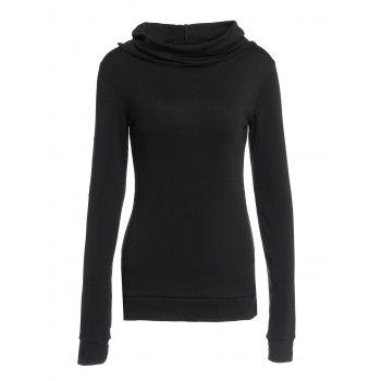 dresslily Stylish Black Lace-Up Back Long Sleeves Women's Hoodie