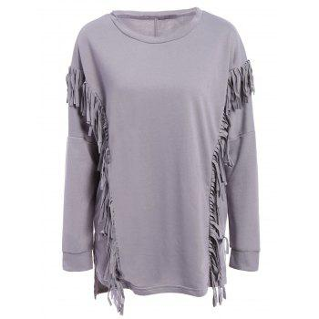 Trendy Scoop Neck Long Sleeve Fringe Design Loose-Fitting Women's Sweatshirt - GRAY GRAY