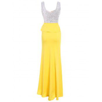 Alluring Women's 's Sweetheart Neck manches longues Robe Maxi - Jaune L