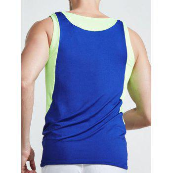 Linellae Design Round Neck Quick-Dry Solid Color Men's Tank Top - SAPPHIRE BLUE M