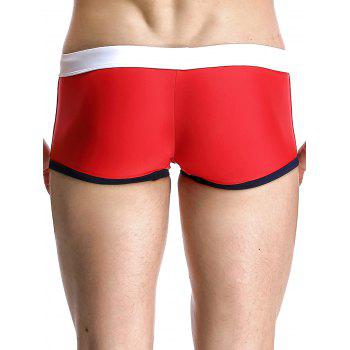 Low Rise Splicing Design Men's Swimming Trunks - RED XL