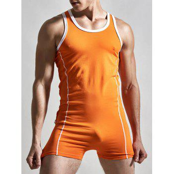 Solid Color Round Neck Siamesed Men's Romper - ORANGE ORANGE