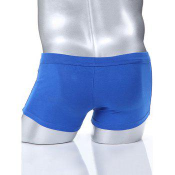 Men's Button Design Solid Color Boxers - BLUE S