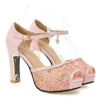 Lace Panels Sequins Chunky Heel Peep Toe Shoes - LIGHT PINK LIGHT PINK