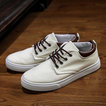 Solide Couleur simple et Lace-Up Design Men 's  chaussures de toile - Blanc Cassé 42