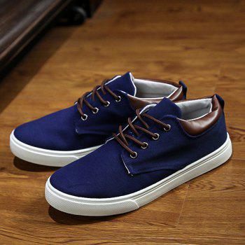 Simple  Solid Color and Lace-Up Design Men's Canvas Shoes - DEEP BLUE 42