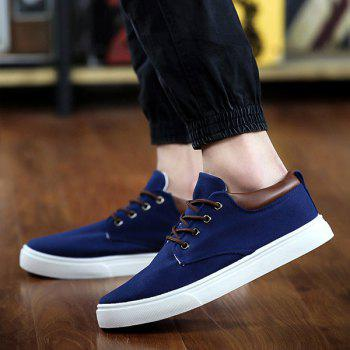 Simple  Solid Color and Lace-Up Design Men's Canvas Shoes - DEEP BLUE 40