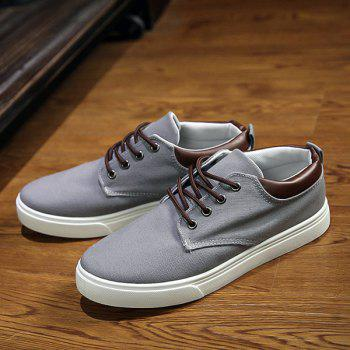 Simple  Solid Color and Lace-Up Design Men's Canvas Shoes - GRAY 44