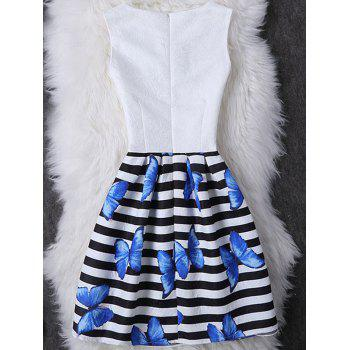 Fashionable Sleeveless Round Neck Striped Slimming Butterfly Print Women's Dress - WHITE L