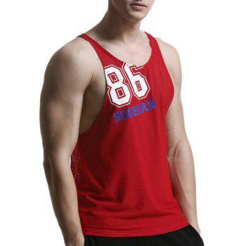 Quick Dry Mesh Design Graphic Tank Top - RED M