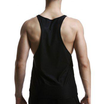 Quick Dry Mesh Design Graphic Tank Top - BLACK L