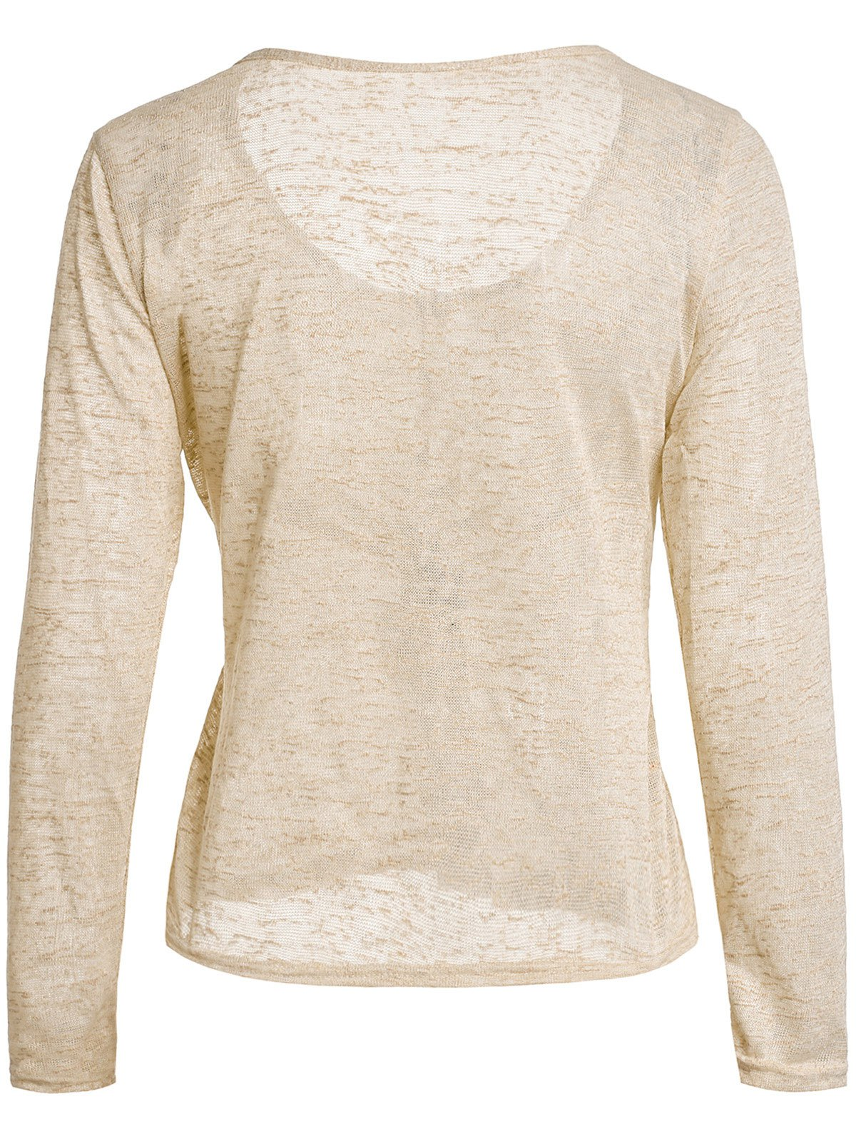 Pullover Long Sleeve Scoop Neck Solid Color Blouse For Women - BEIGE L