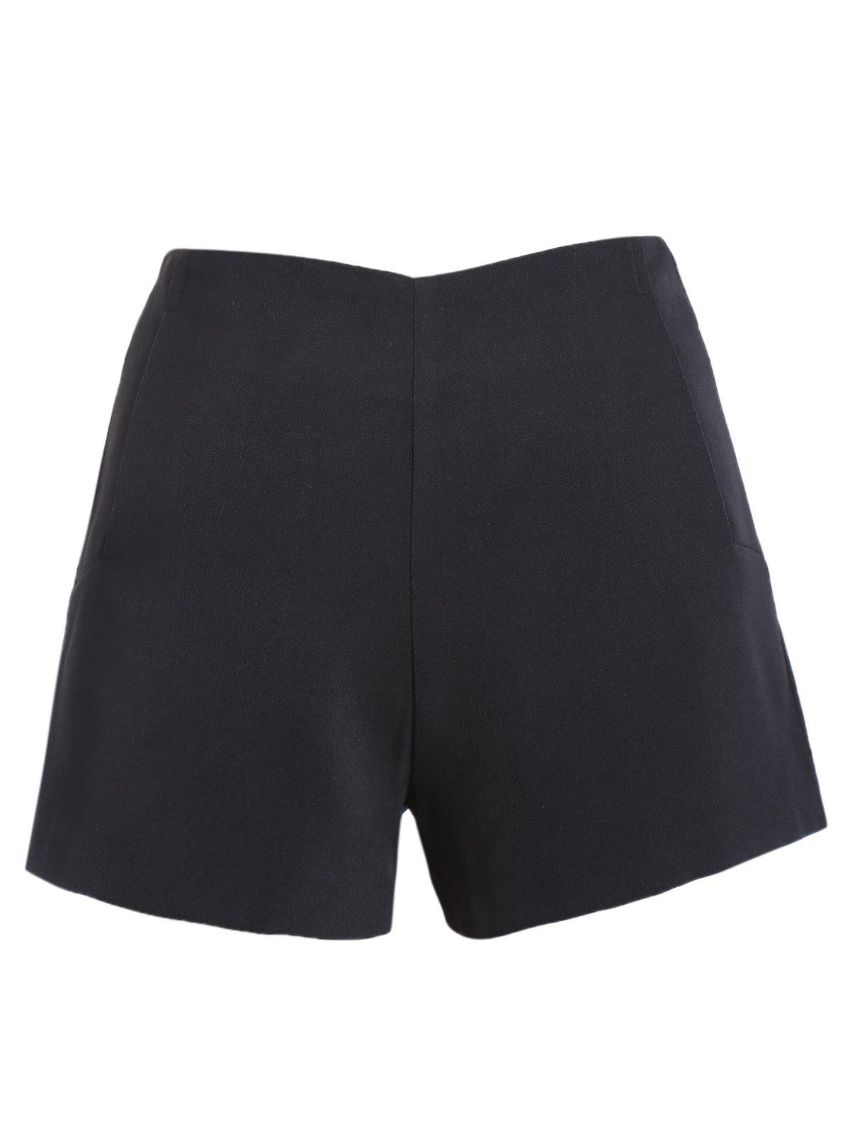 Casual Women's Solid Color Shorts - BLACK L