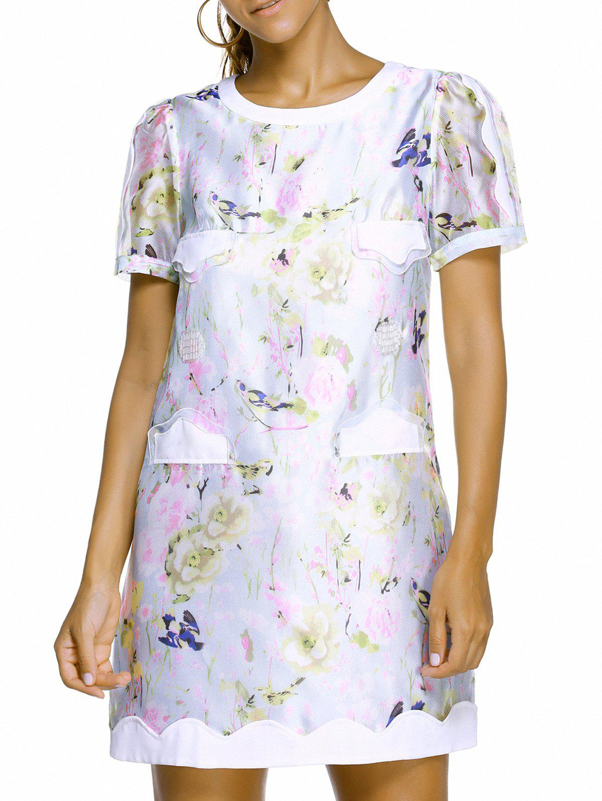 Charming Short Sleeve Round Neck Spliced Floral Print Women's Dress - XL WHITE