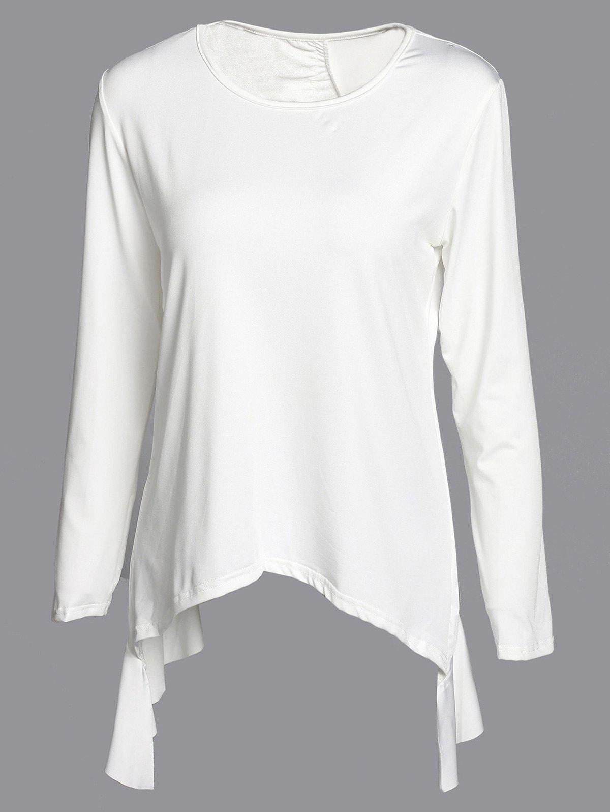 Women's Fashionable Solid Color 3/4 Sleeve Asymmetrical Cut Out Blouse