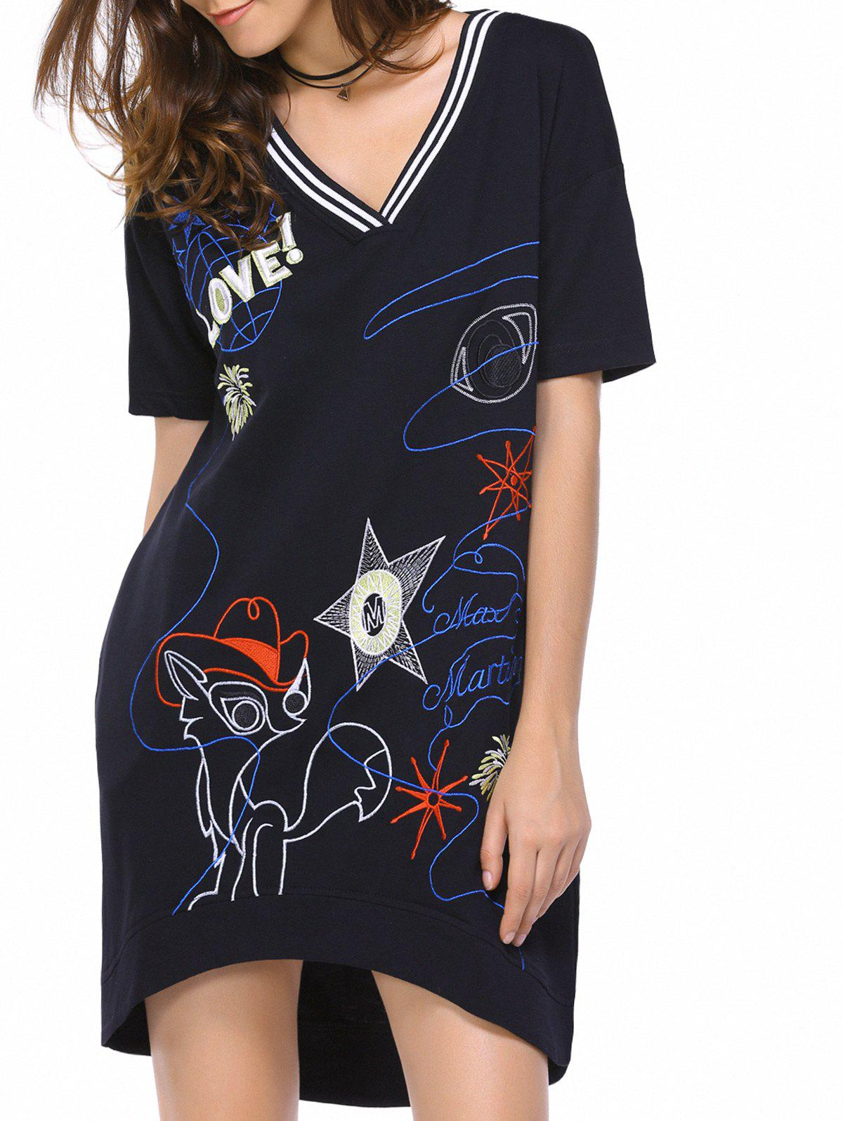 Casual Women's Short Sleeve V-Neck Embroidery Design Dress - BLACK S