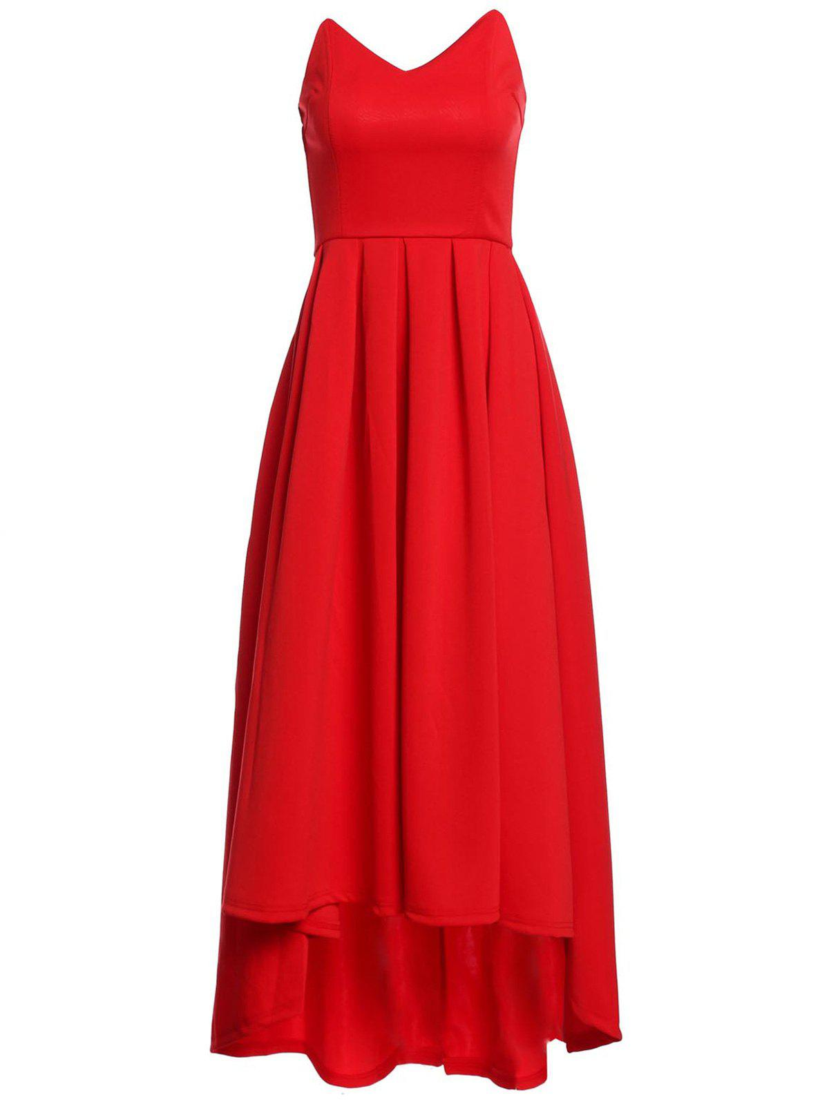 Vintage Red Strapless High Waist Pleated Ball Gown Maxi Dress For Women adrianna papell women s bow detail strapless taffeta gown 4 cassis