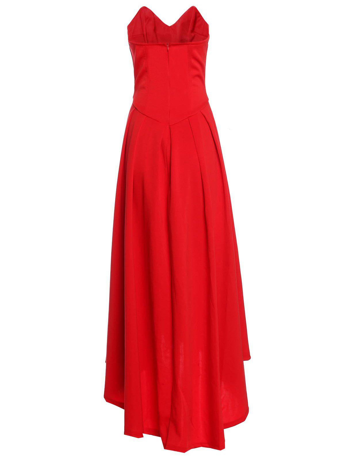 2018 Vintage Red Strapless High Waist Pleated Ball Gown ...