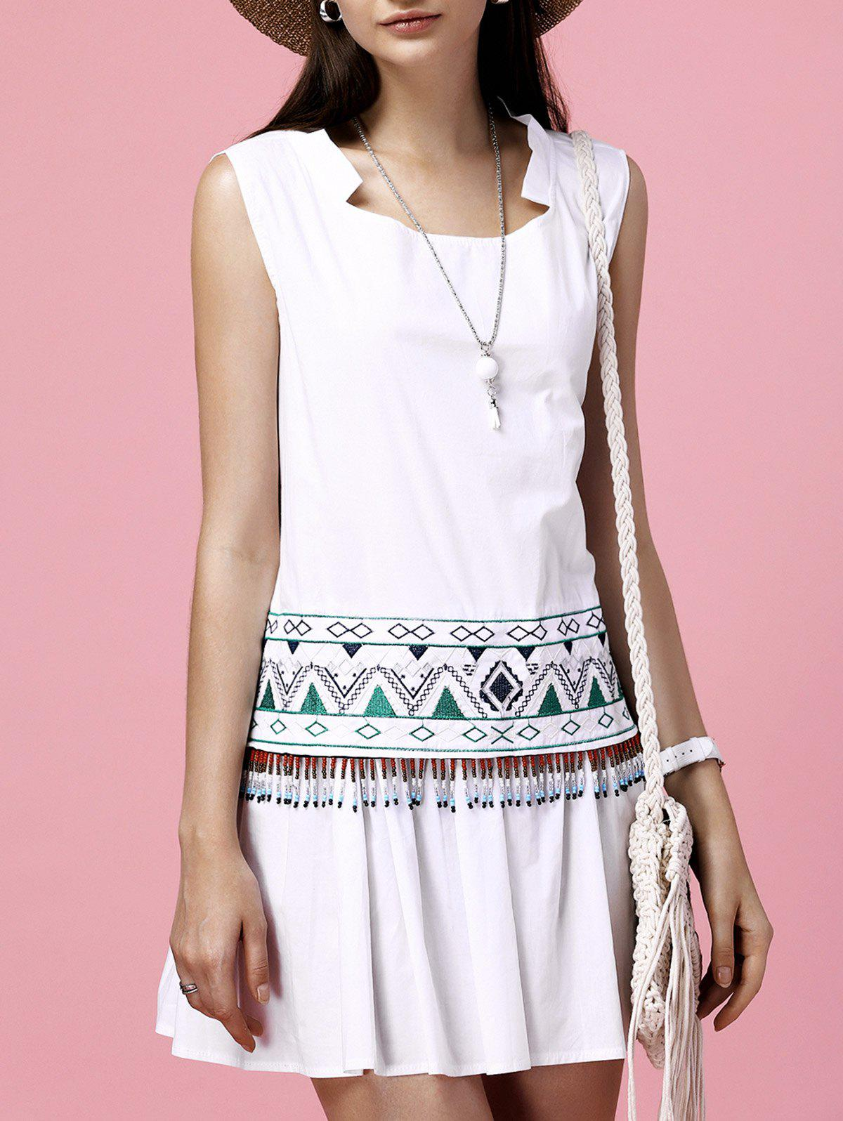 Beaded Geometric Embroidered Flounce Hem Brief Women's Dress - WHITE ONE SIZE(FIT SIZE XS TO M)