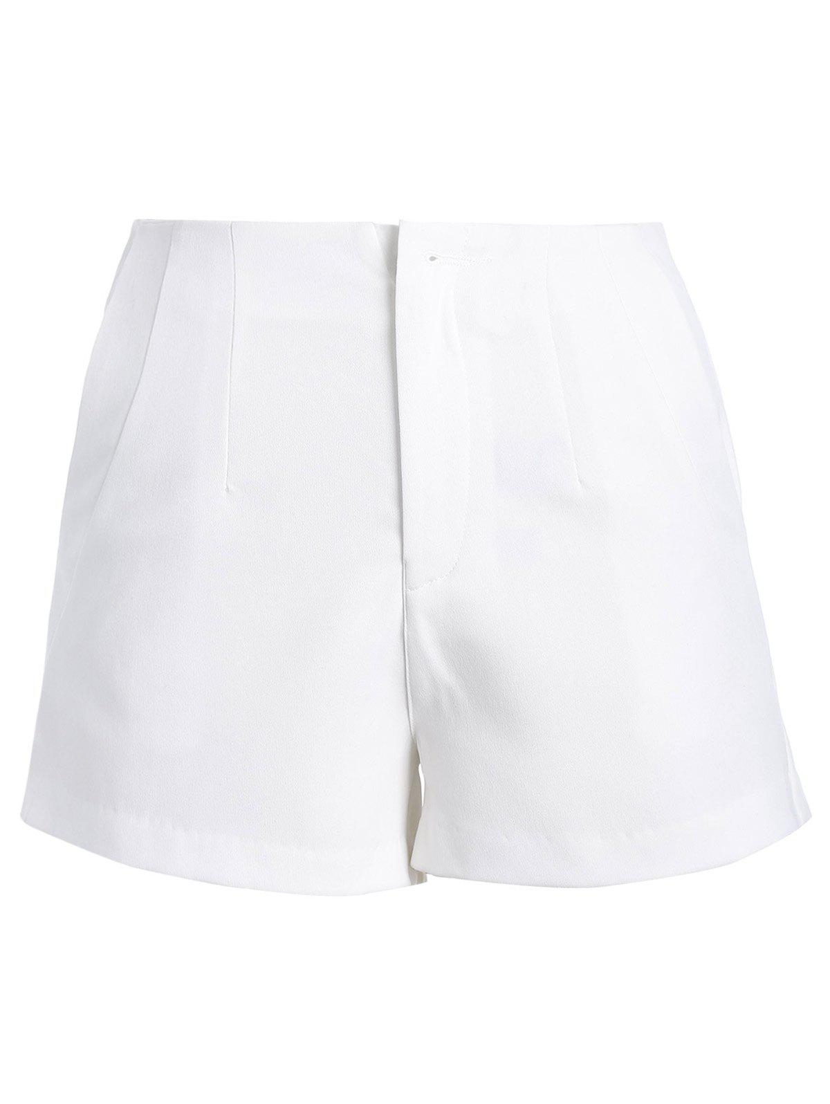 Stylish Women's Solid Color Zipper Fly Shorts - WHITE L