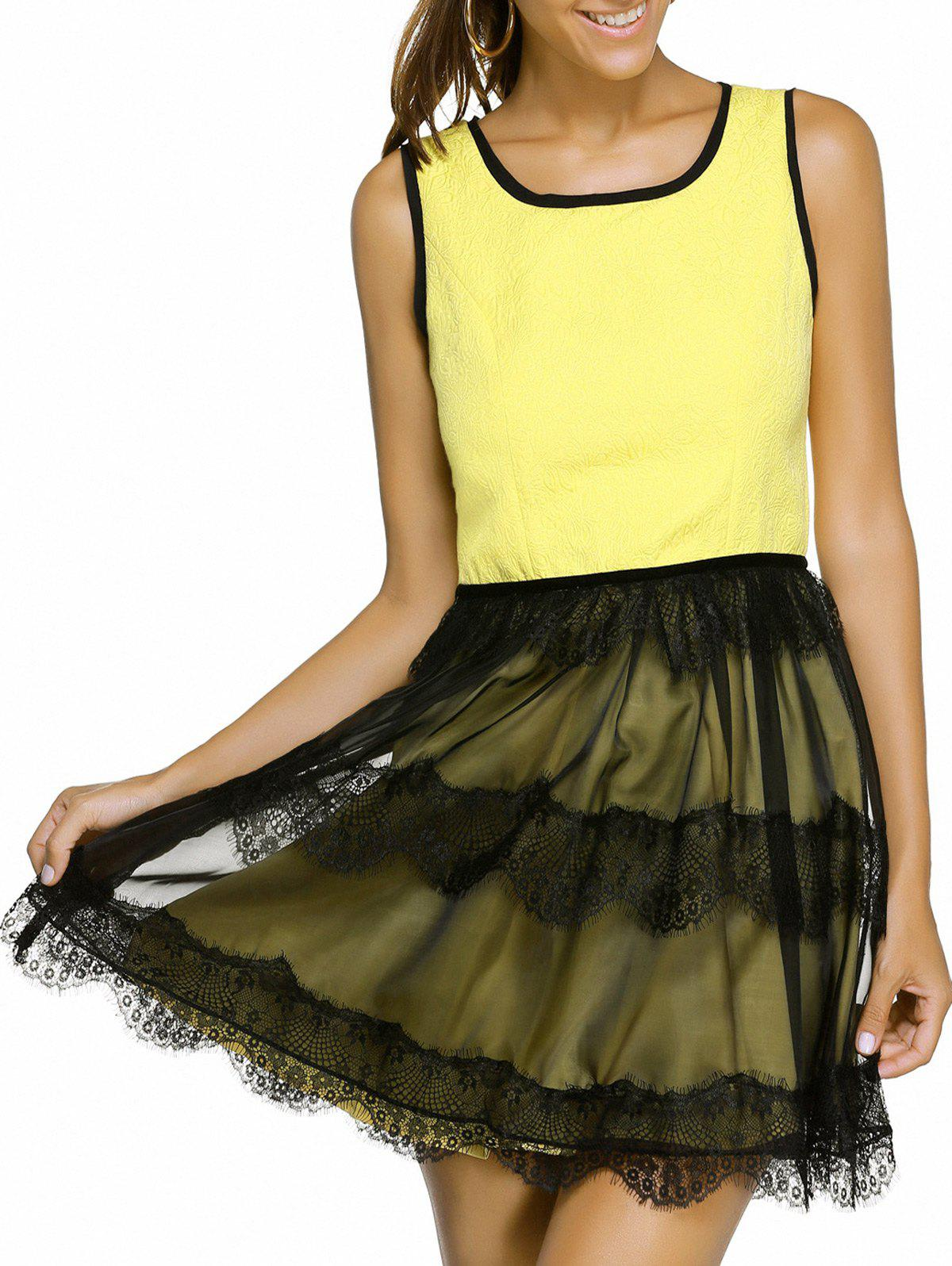 Cute Sleeveless Scoop Neck Slimming Eyelash Lace Spliced Women's Dress - YELLOW L