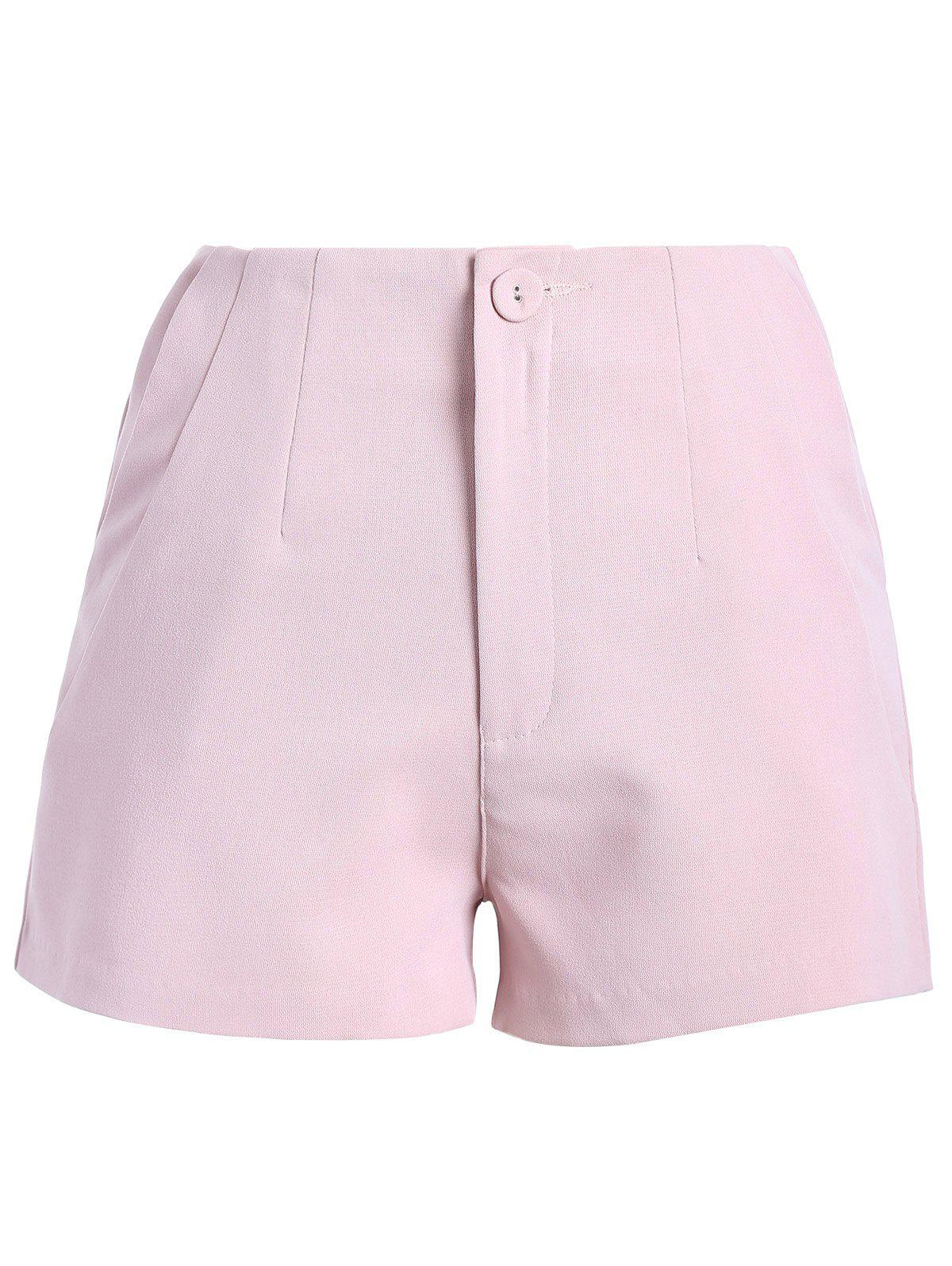 Stylish Women's Solid Color Zipper Fly Shorts - SHALLOW PINK M
