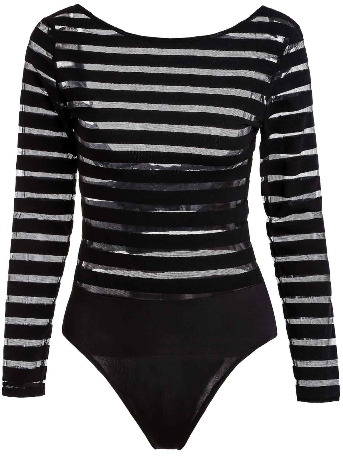 Fashionable Round Neck Long Sleeve Striped See-Through Women's Bodysuit - BLACK S