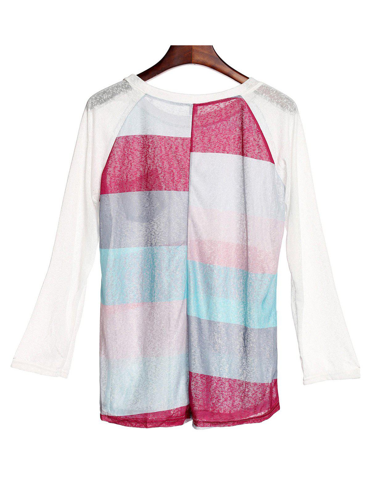 Élégant 3/4 T-shirt à manches Scoop Neck Pocket Spliced ​​Striped Femmes - multicolorcolore XL