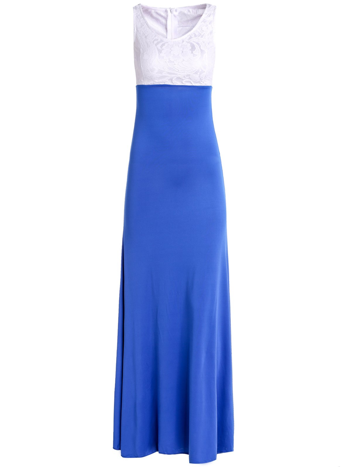 Elegant Scoop Neck Sleeveless Lace Spliced Ruched Maxi Dress For Women - M BLUE
