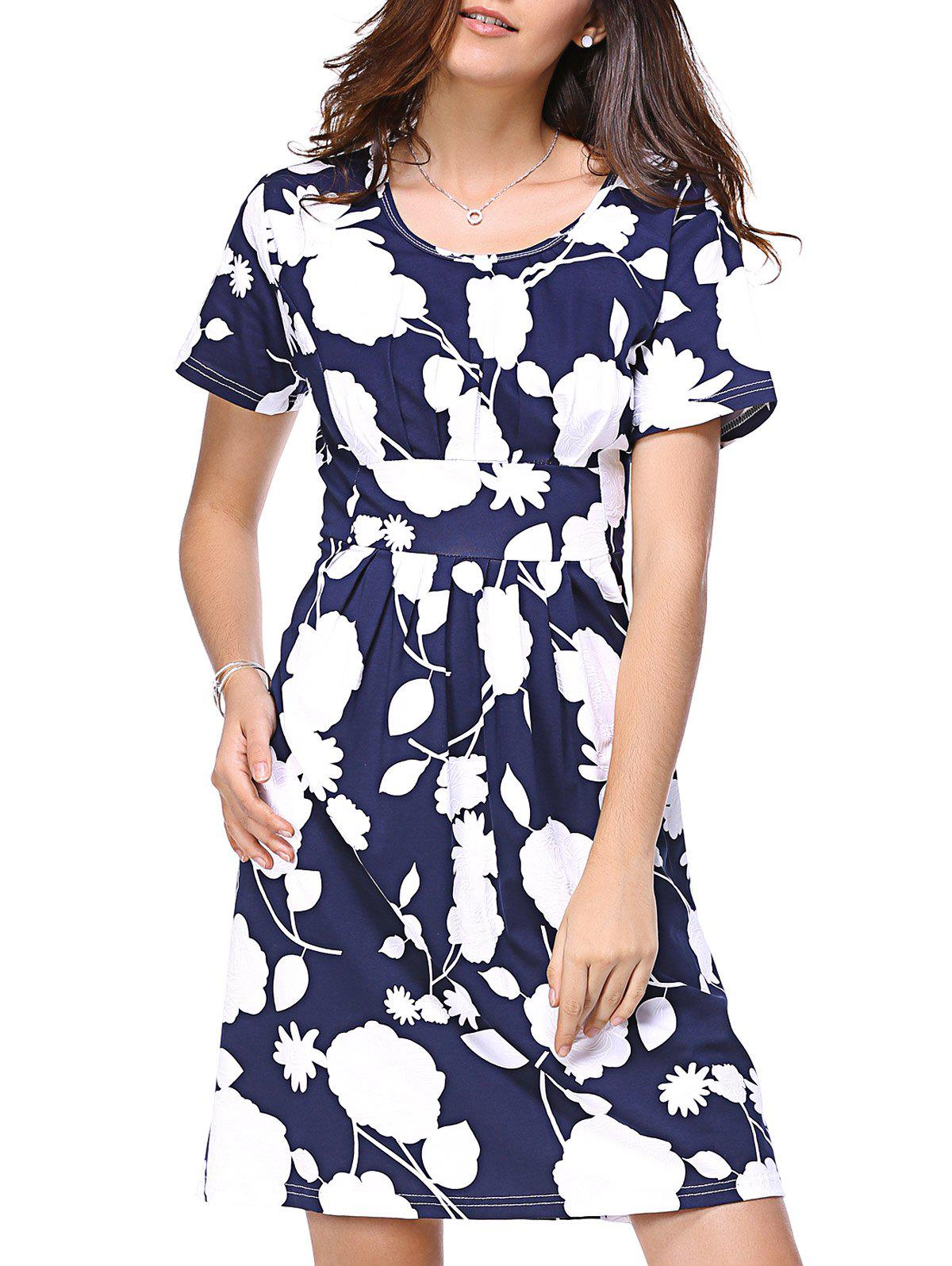 Elegant Waist-controlled Short Sleeve Floral Print Dress For Women