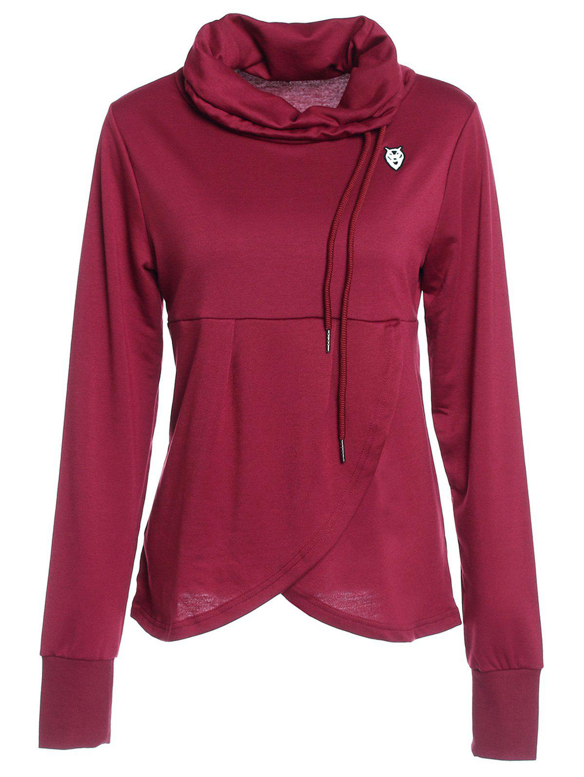 Petal Hem Drawstring Embroidered Sweatshirt - WINE RED XL