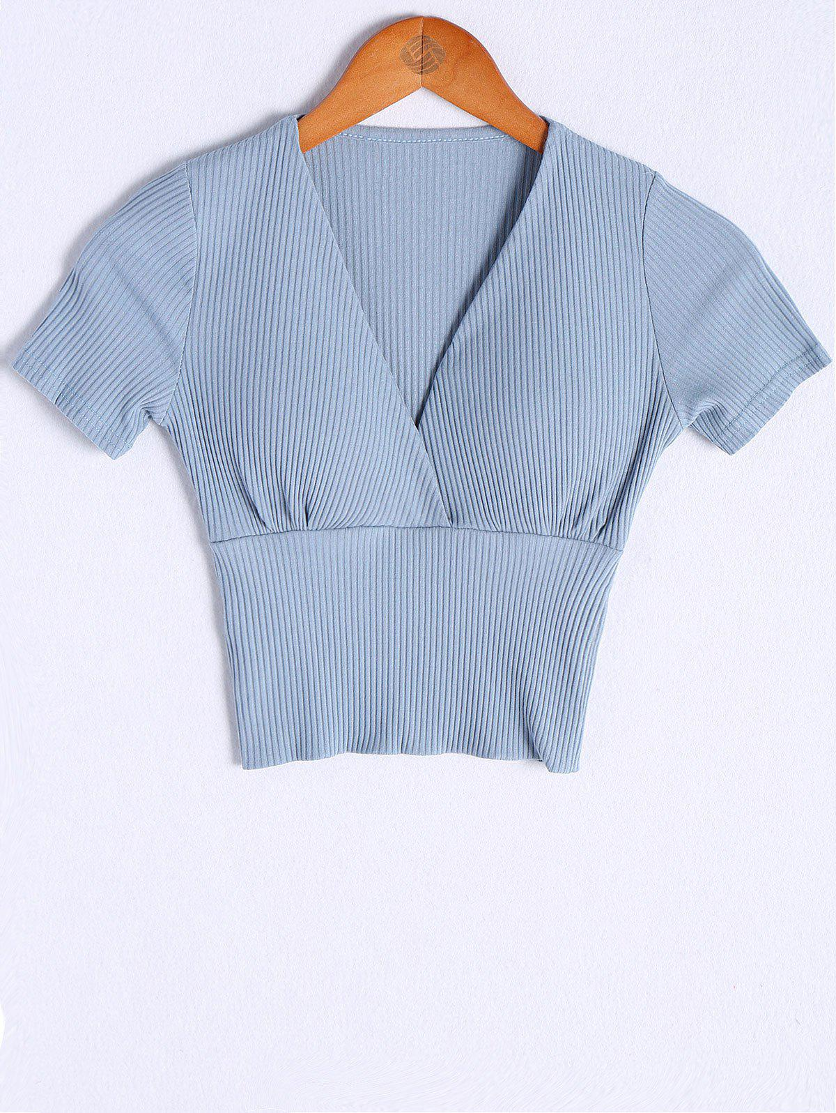 Fashionable V-Neck Padded  Short Sleeves Blouse For Women - ICE BLUE ONE SIZE(FIT SIZE XS TO M)