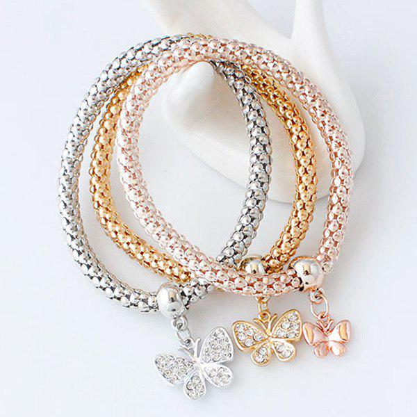 A Suit of Multilayered Rhinestone Butterfly Charm Bracelets a suit of rhinestone owl charm bracelets