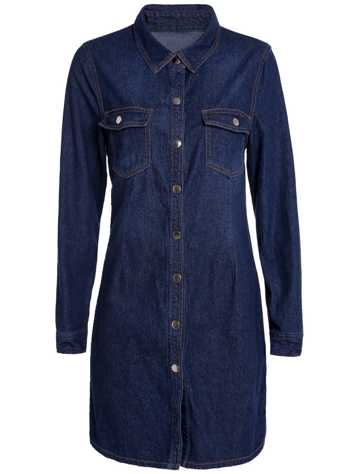 Elegant Shirt Collar Solid Color Long Sleeve Sheathy Denim Dress For Women - PURPLISH BLUE 2XL