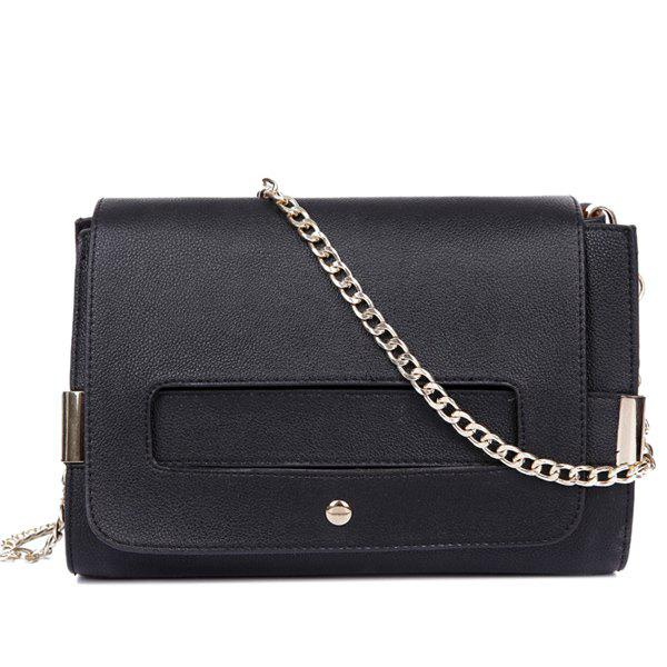 Simple Solid Color and Chains Design Women's Crossbody Bag - BLACK