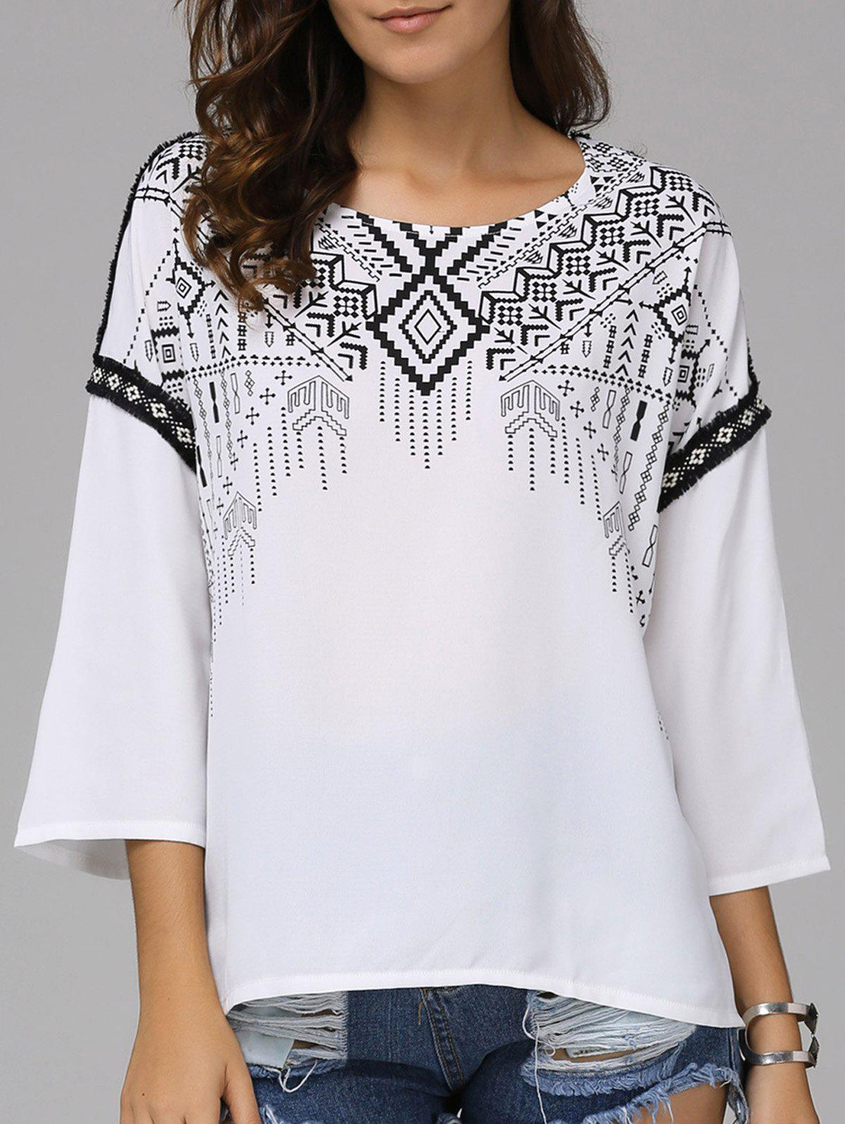 Fashionable Round Collar National Wind Nine-Minute Sleeves Printing T-shirt  For Women - WHITE L