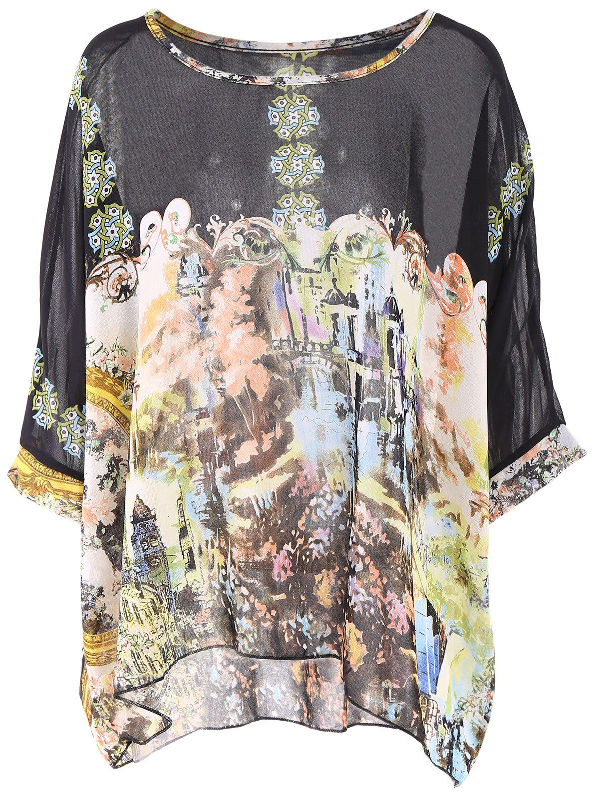Bohemian Scoop Neck Printed Loose-Fitting 3/4 Sleeve Chiffon Blouse For Women - BLACK XL