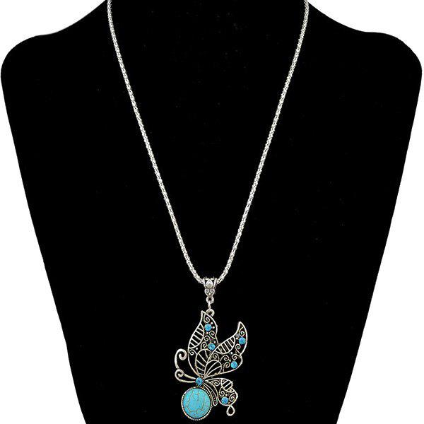 Ethnic Style Faux Turquoise Rhinestone Hollowed Butterfly Necklace For Women - SILVER