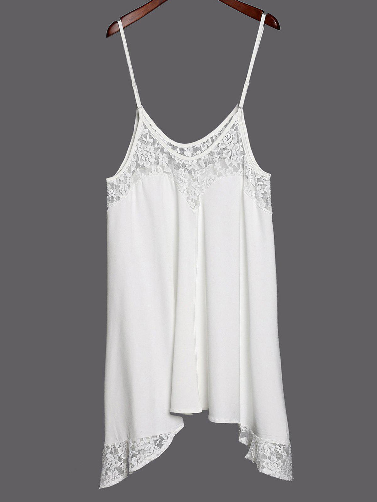 Women's Stylish Lace Splicing Solid Color Spaghetti Strap Tank Top