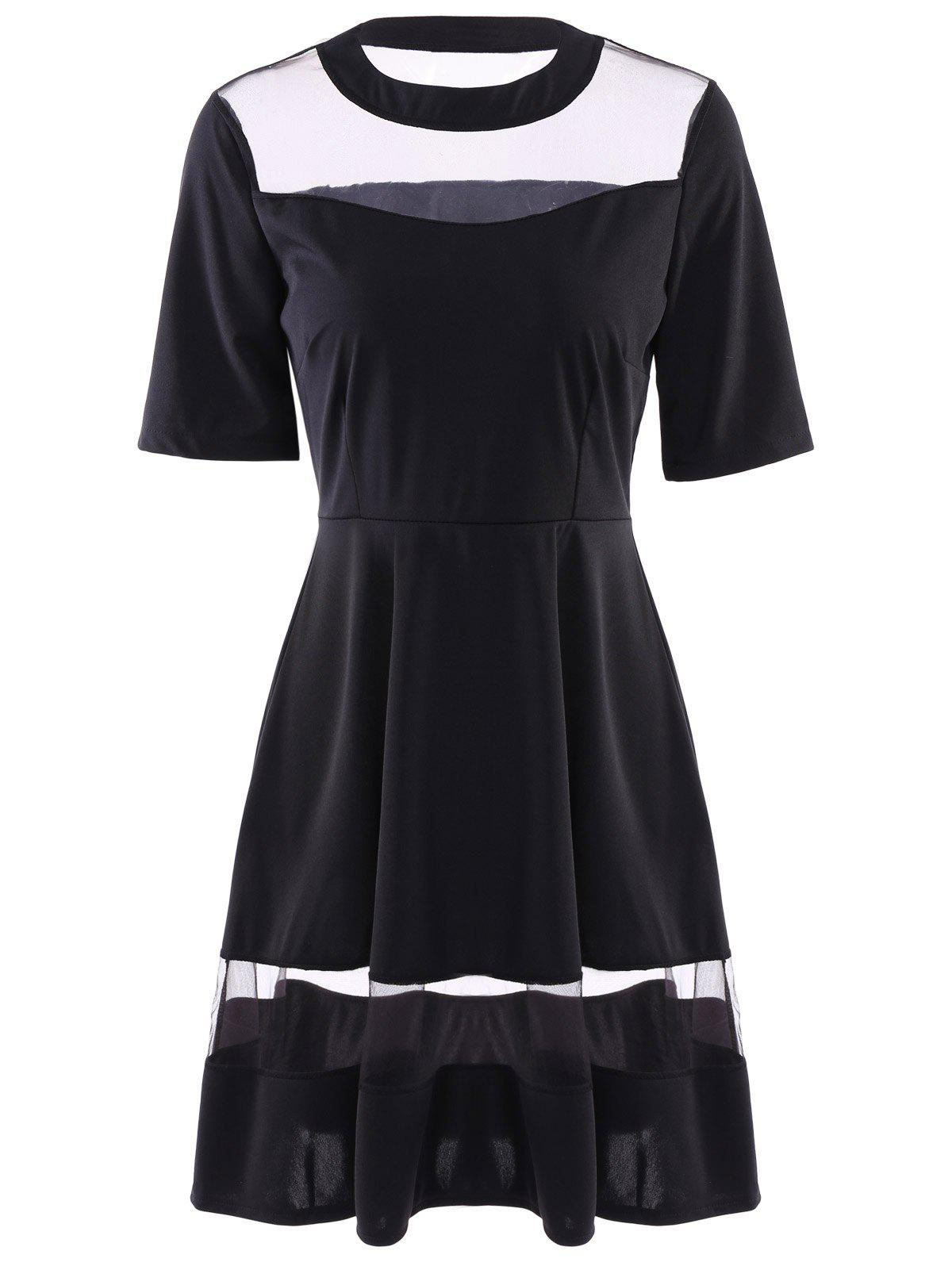 Round Neck Half Sleeve See-Through Spliced Women's Dress - BLACK S