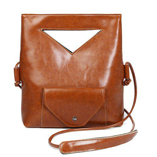 Simple PU Leather and Foldable Design Women's Tote Bag -  BROWN