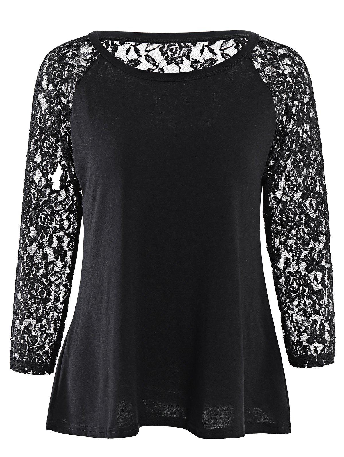 Fresh Style Solid Color Hollow Out Lace Spliced Long Sleeve T-Shirt For Women - BLACK S