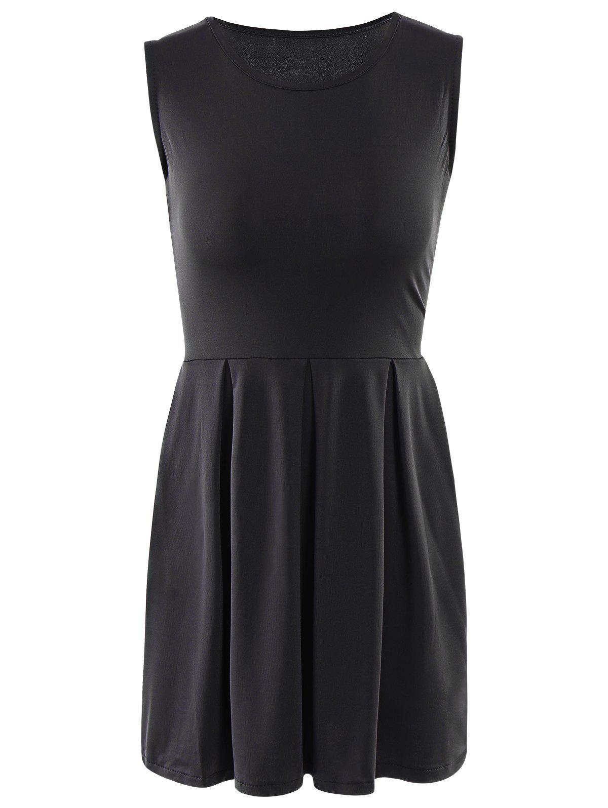 Sweet Solid Color Sleeveless Pleated Mini Dress For Women - BLACK S