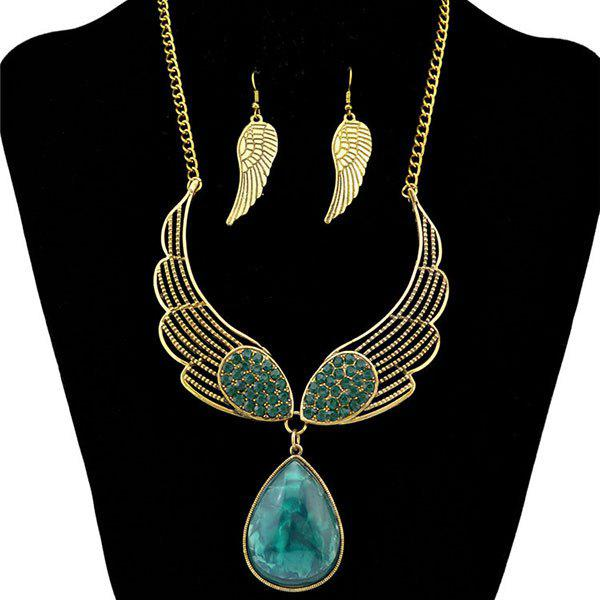 A Suit of Trendy Faux Gem Rhinestone Wings Necklace and Earrings For Women