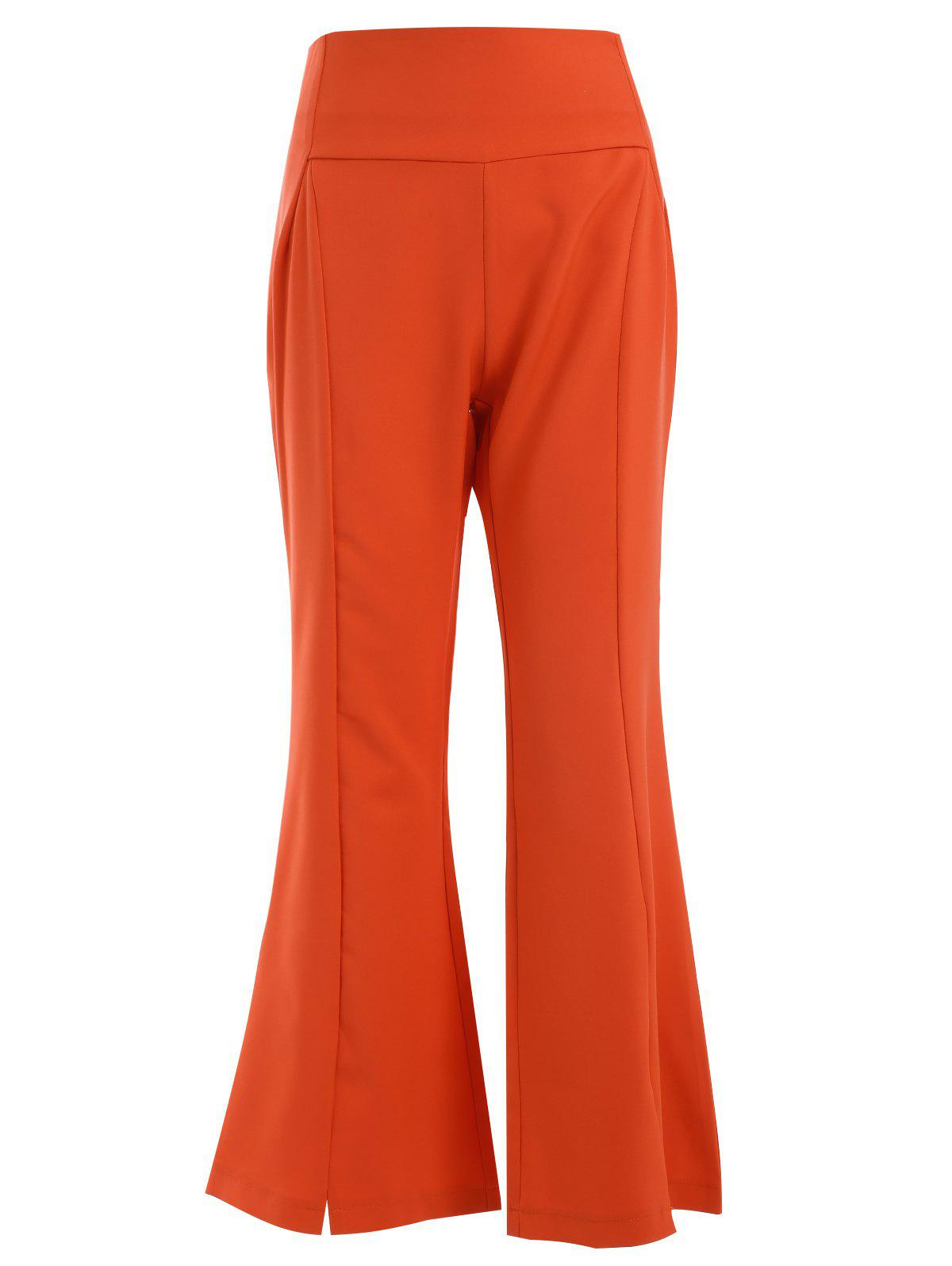 Stylish Women's Solid Color High-Waisted Boot Cut Nine Minutes of Pants - ORANGE RED M