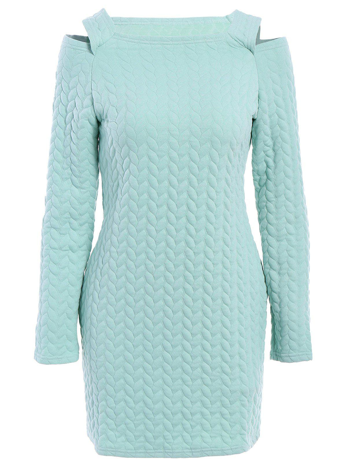 Stylish Long Sleeve Round Neck Solid Color Cut Out Women's Sweater Dress - LIGHT GREEN M
